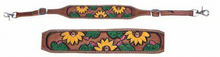 "Showman Hand painted sunflower and cactus wither strap. Wither strap has hand painted sunflower and cactus print on a medium colored leather. Easily attach to your breast collar with double scissor snap ends. Adjusts 26"" - 29""."