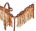 "Showman Hand Painted Sunflower and Cactus Browband Headstall and Breastcollar Set with Fringe. This set features a medium colored leather with hand painted sunflowers and cactus' throughout. Breastcollar has mustard suede leather fringe and whole set is accented with copper conchos. Set comes complete with 5/8"" x 7' split leather reins."