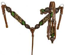 """Showman Cheetah headstall and breast collar set with painted cactus accents. This headstall and breast collar set features double stitched leather accented with hand painted cactus and a cheetah inlay that are accented with diamond tooling and large copper cactus conchos. Headstall comes with 5/8"""" x 7' leather split reins."""