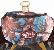 """Showman Real Oak Insulated Nylon Saddle Pouch. Includes two convenient pockets that are ideal for your phone, keys, money, snacks, etc. Simply clip the saddle pouch to the pommel of your saddle with two buckles. Measures 8.5"""" long by 3.5"""" wide by 4.5"""" tall."""