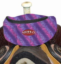 """Showman Wild Safari Print Insulated Nylon Saddle Pouch. Includes two convenient pockets that are ideal for your phone, keys, money, snacks, etc. Simply clip the saddle pouch to the pommel of your saddle with two buckles. Measures 8.5"""" long by 3.5"""" wide by 4.5"""" tall."""