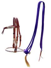Showman Leather Futurity Knot Headstall w/ Purple Rawhide Braided Bosal & Reins!