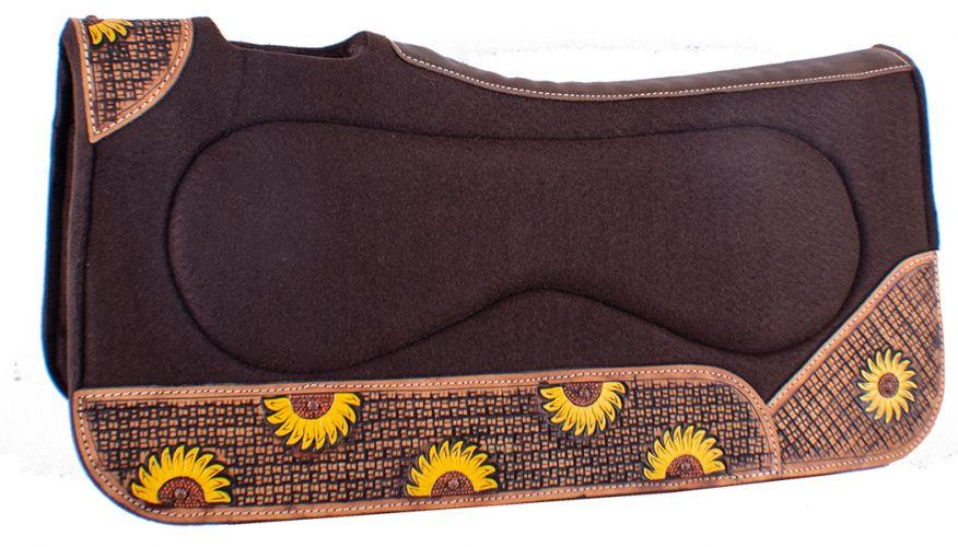 Showman 31 x 32 Sunflower Print Solid Felt Saddle Pad