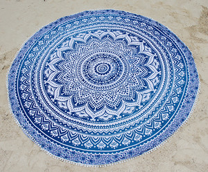 Round Beach Blanket- Blue Lotus Flower