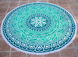 Round Beach Blanket- Aqua / Green  Hearts & Lotus