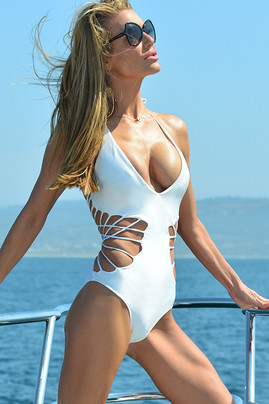 Crisscross One Piece Swimsuit - White