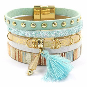 Bohemian Multi-Strap Leather Bracelet - Mint