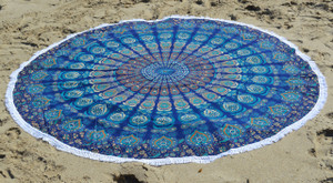 Round Beach Blanket- Royal Blue