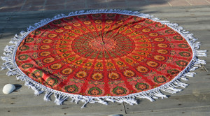 Round Beach Blanket- Red/ Yellow/ Green