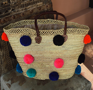 Handmade Moroccan Beach Bag - Multi-Colored Pom Pom