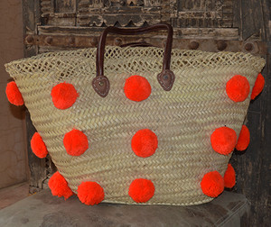 Handmade Moroccan Beach Bag - Orange Pom Pom