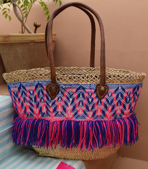 Handmade Moroccan Beach Bag - Dark Blue/Fuchsia Missoni Tassels