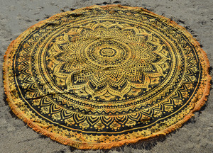 Round Beach Blanket- Yellow Tie Dye