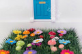 Fairy Door Grass Mat with Flowers