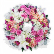 Pinks and Lilies Flower Wreath