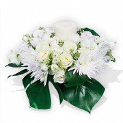 All White Flowers and Candle Table Arrangement
