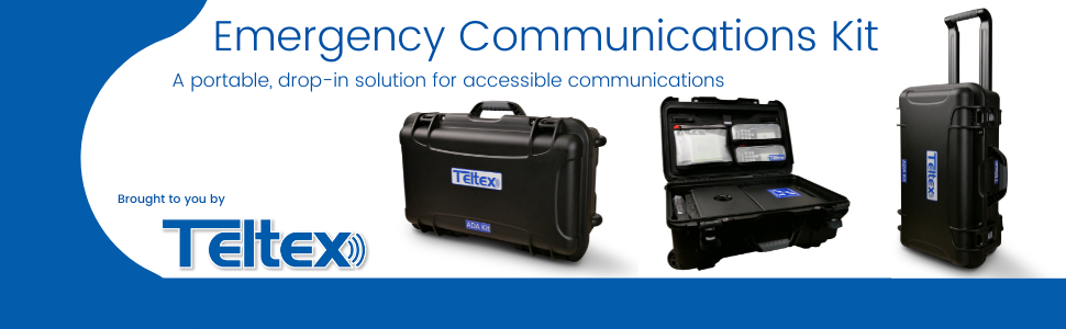 Emergency Communications Kit - A portable, drop-in solution for accessible communications. Kit shows large, rugged case on wheels with assistive technology devices inside