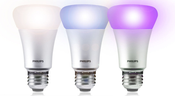 Philips Hue Smart Lightbulbs in white, blue, and purple