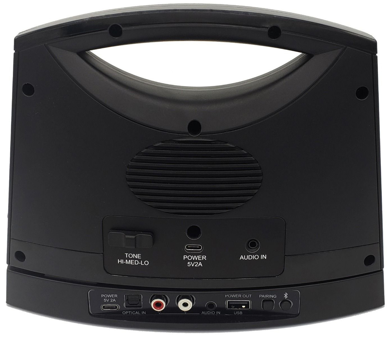 Sereonic TV SoundBox® by Serene - BT100 (Rear view showing ports and settings)