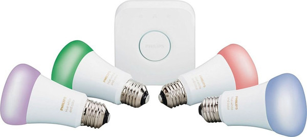 Philips Hue White and Color A19 Starter Kit - Lit