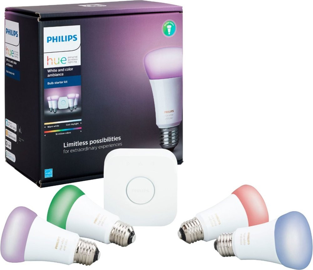 Philips Hue White and Color A19 Starter Kit - with Product Box