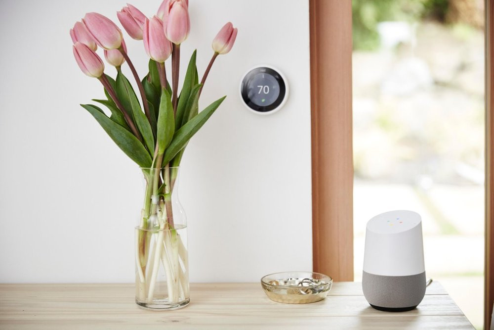 Google Home - White/Slate - Table (Nest Thermostat Sold Separately)