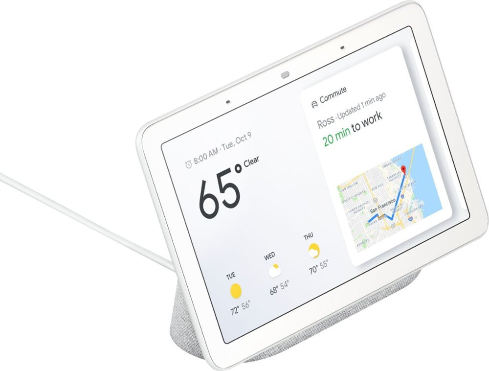 Google Home Hub - Chalk - Angle