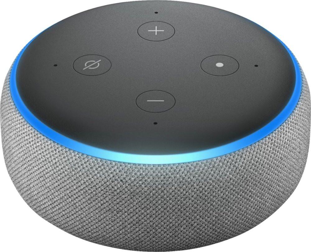 Amazon Echo Dot, 3rd Gen - Heather Gray - Top Angle