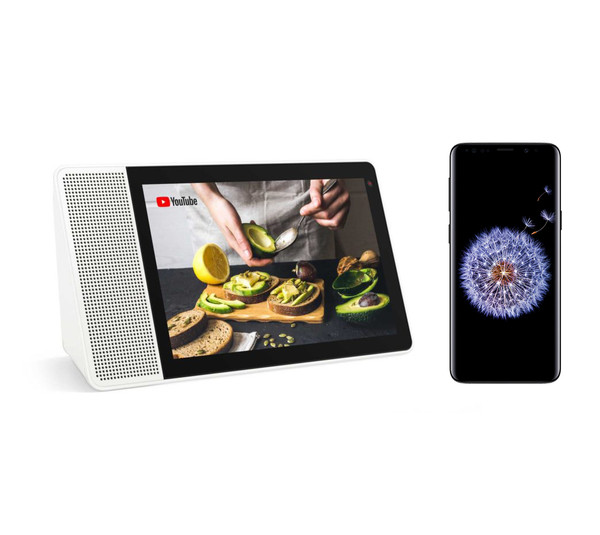 "Lenovo Smart Display 10"" with Samsung Galaxy S9 Smartphone"