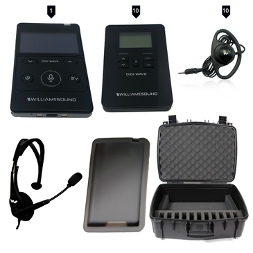 Williams Sound Digi-Wave 400 Series Tour Guide System - Full Kit for 10 listeners and 1 Guide