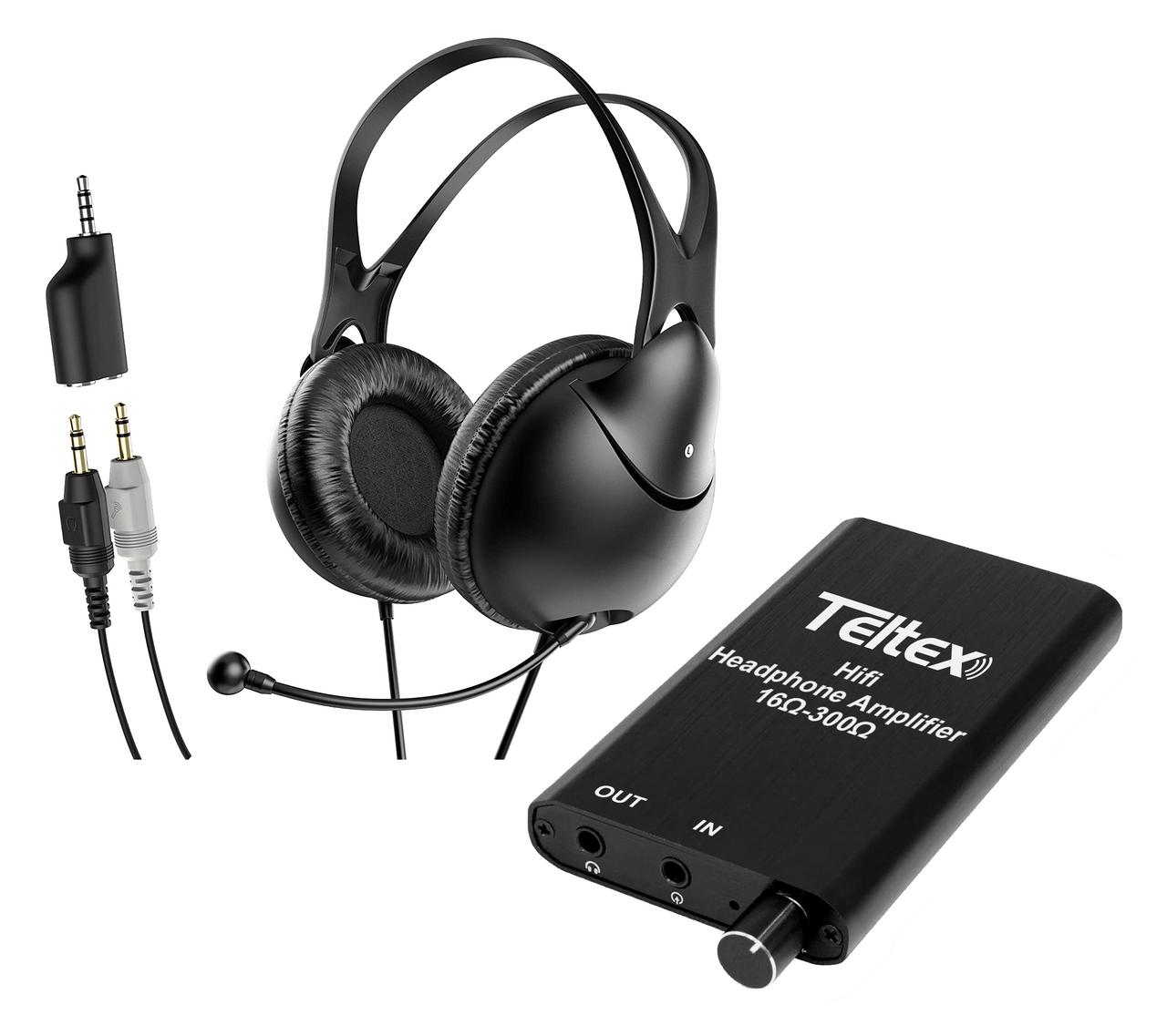 Teltex In-Line Amplifier Headset w/Boom Microphone