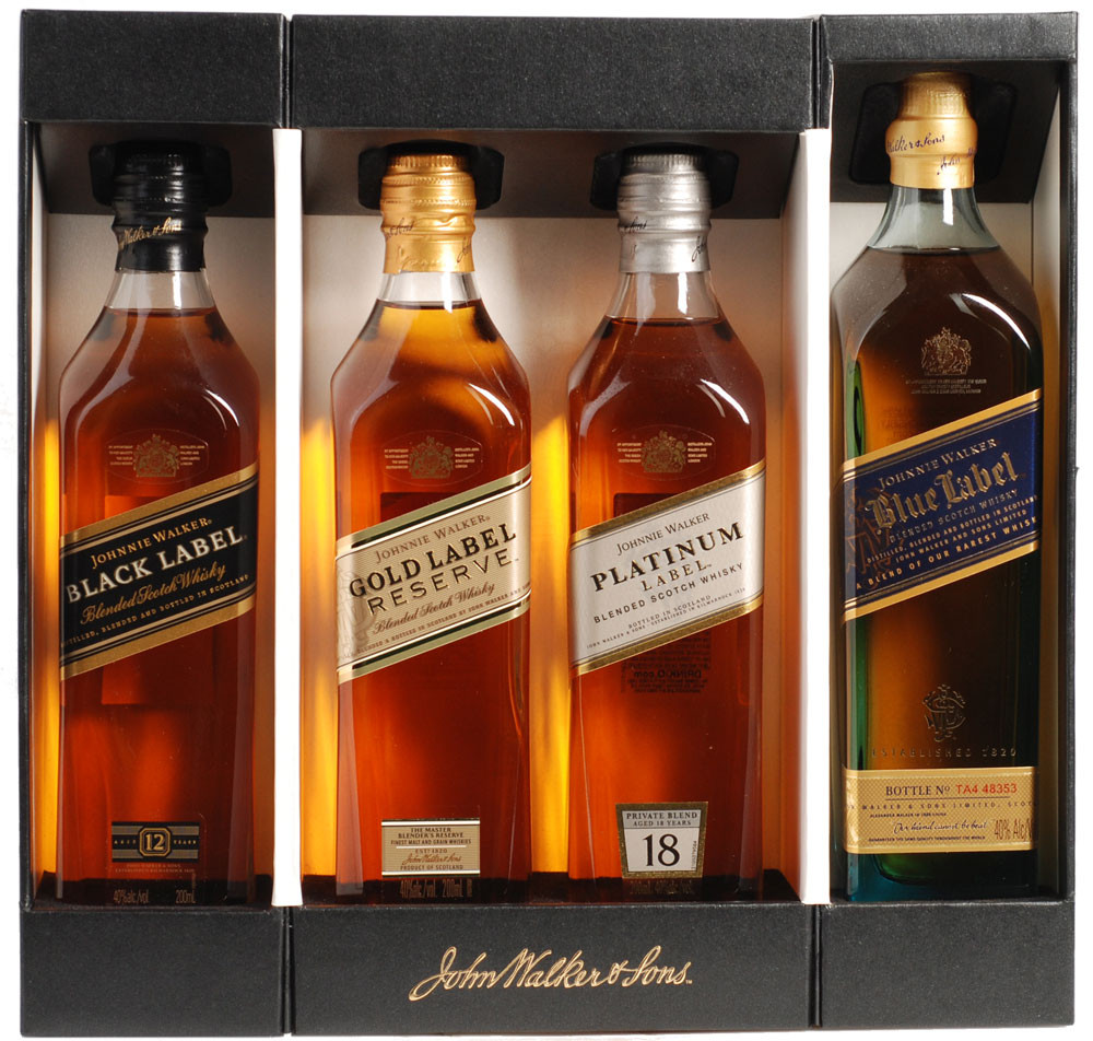 Johnnie walker collection 4 pack 200ml bottles crown for Classic house sample pack