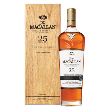 The Macallan 25 year old whisky aged in fine sherry casks