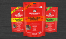 Freeze Dried Dinners in 5.5oz and 15oz bags.  Decadent Dogs routinely carries 5 flavors, venison, pheasant and rabbit also available upon request.  Call 269-639-0716 to inquire!