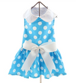 Blue Polka Dot Harness dress with matching leash & D-ring