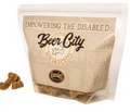 2 flavors of Beer City dog biscuits:  PB and Blueberry
