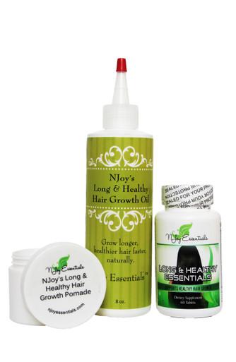 Full-size bottle of hair growth oil + Long & Healthy Essentials Super Hair Growth Vitamins + Hair Growth Pomade