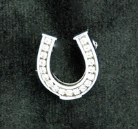 "Brooch, Crystal Horseshoe 1"" Silver"