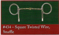 Half Cheek, Square Twisted Wire Snaffle (Bowman's #434)