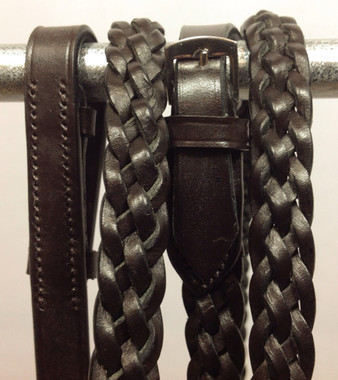 Dark Havana Brown 5-Strand Braided/Plaited Reins
