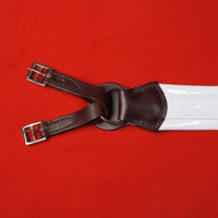 Show Girth, White Vinyl Shaped with Leather Humane Ends (Imported)