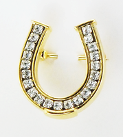 Lapel Brooch Pin, Horseshoe Channel Set Crystals 1""