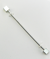 Tie Bar/Collar Bar, Silver with Square Ends