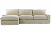Casual Beige Belgian Linen Upholstered Sectional Sofa