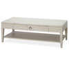 California Rustic Oak White Rectangular Cocktail Table with Drawer