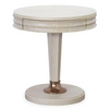 California Rustic Oak 1 Drawer White Round End Table sale