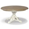 Coastal Beach White Oak round extendable dining table pedestal