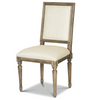 French Weathered Oak Vintage Square Louis Dining Chair-Upholstered