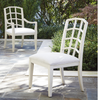 French Modern Slip Upholstered White Dining Arm Chairs