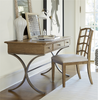 French Modern Wood + Metal Writing Desk with Drawers